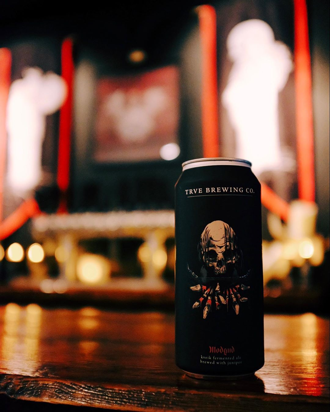 "A can of TRVE or ""True"" Brewing beer with a skull on it."