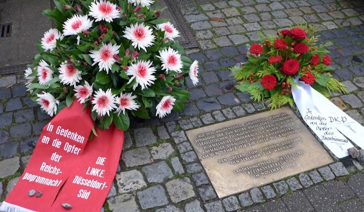 Gedenktafel der Stadt Düsseldorf für die Synagoge, die am 10.11.1938 brannte.