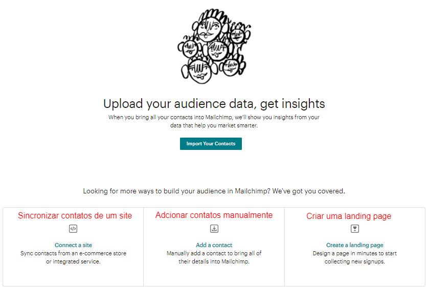 página de audiências do MailChimp