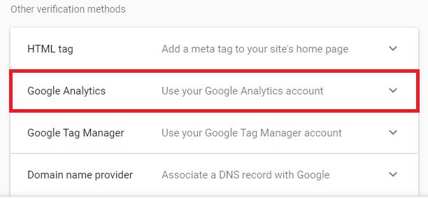 Google Analytics verification method option