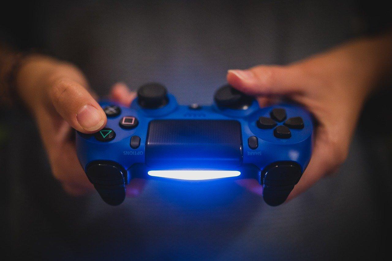 DualShock 4 Controller with a blue light bar