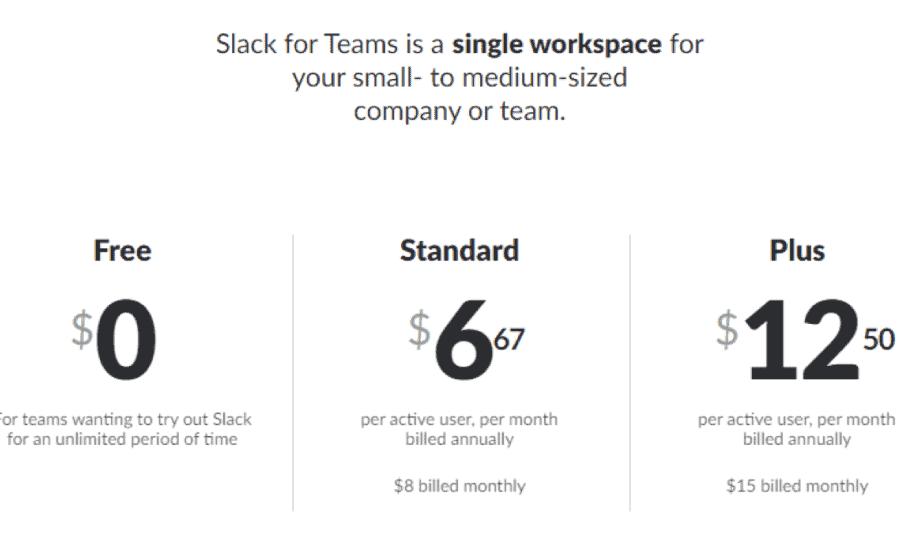 Тарифы Slack