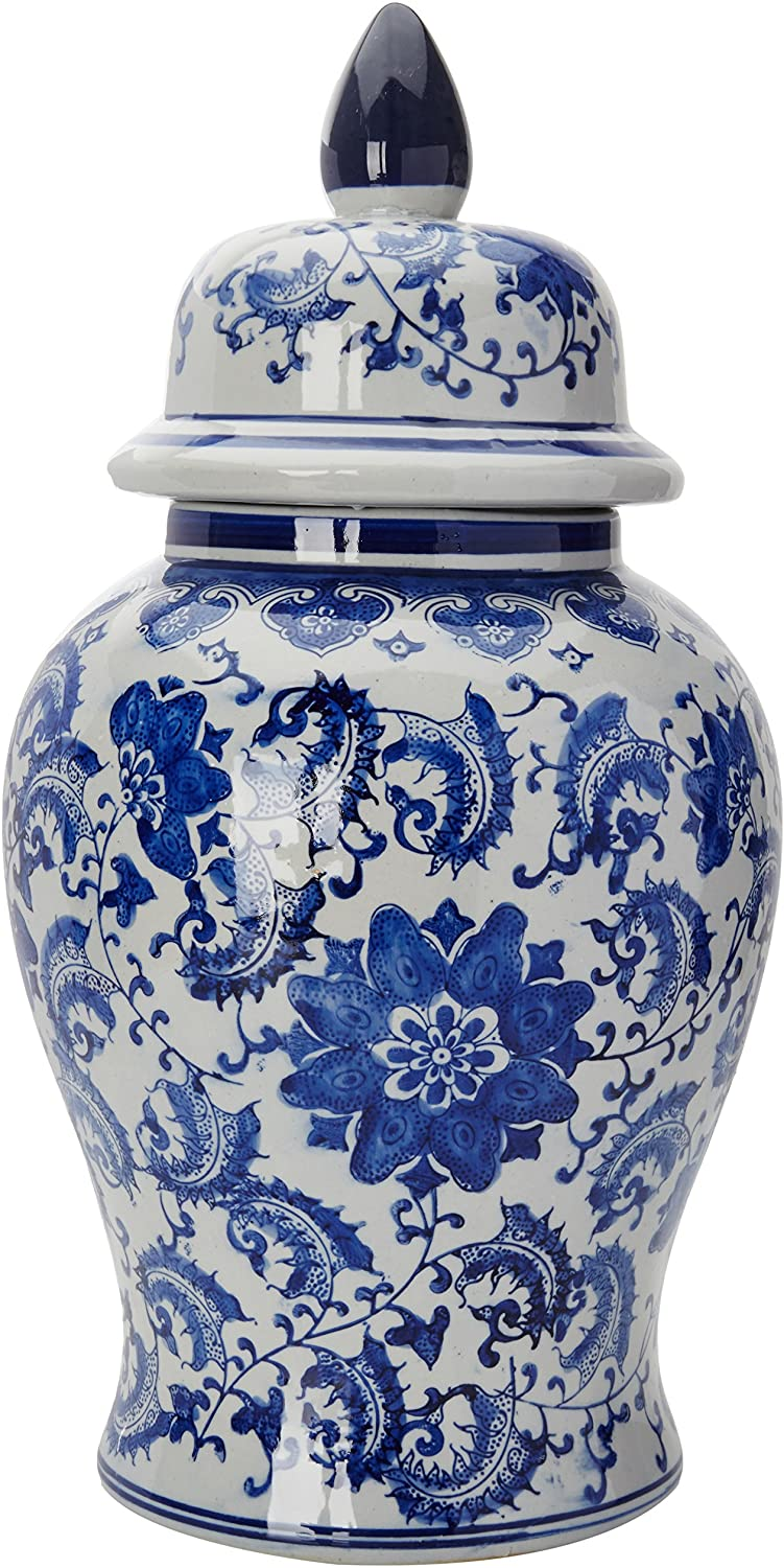 blue white classic traditional chinoiserie vase floral