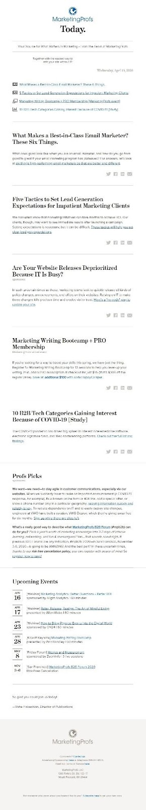 MarketingProfs newsletter exampe