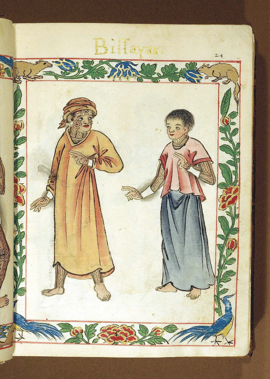 Illustration from the Boxer Codex of a Visayan couple.