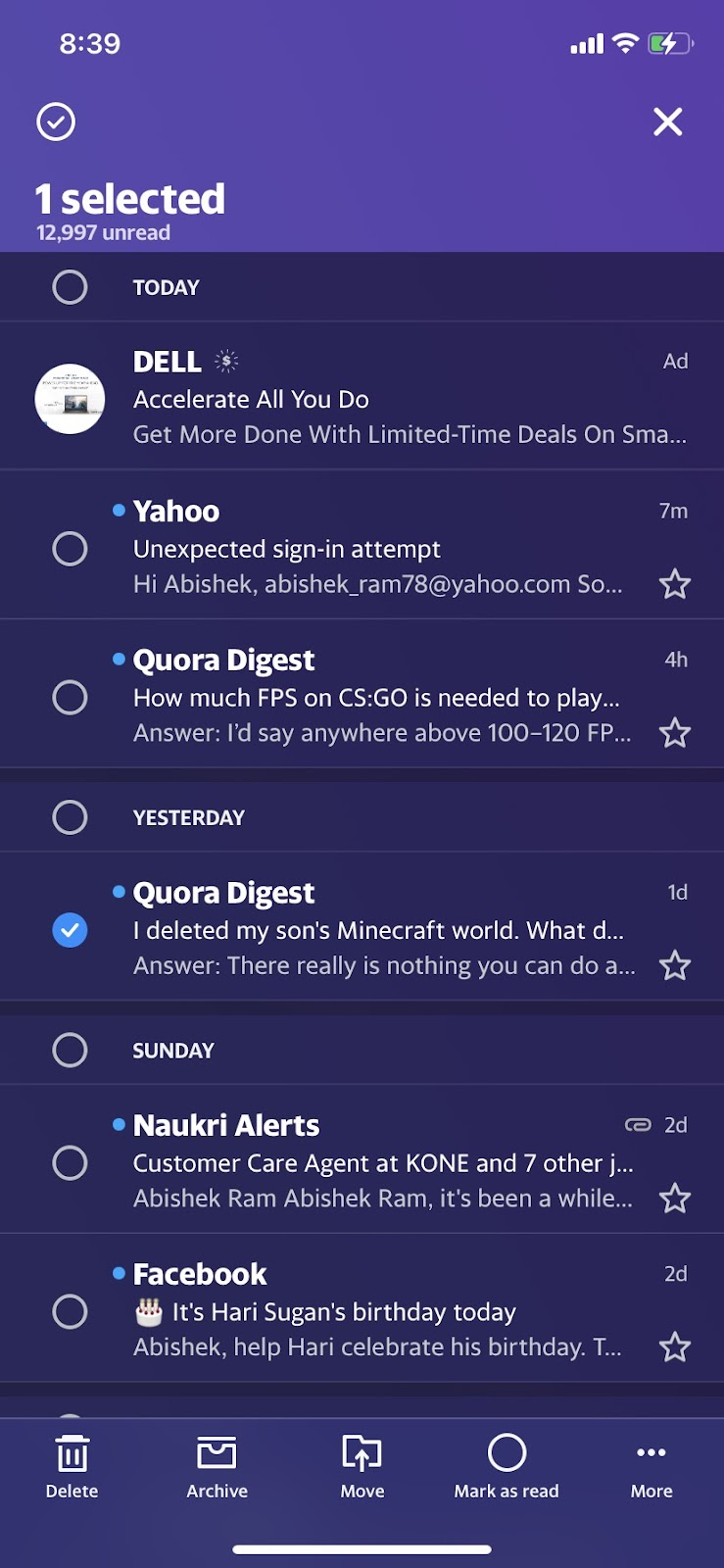 Select Yahoo email
