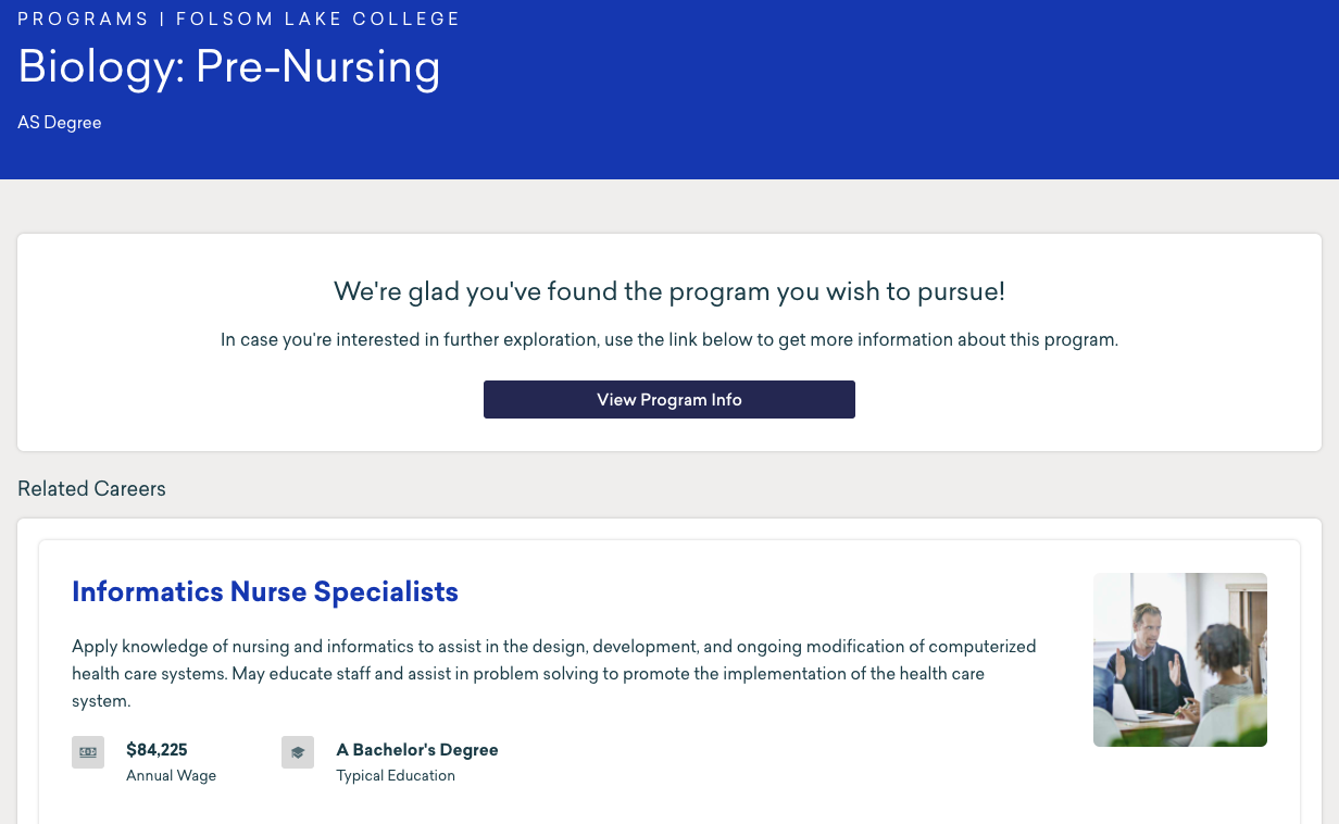Pre-nursing Programs within MyPath example