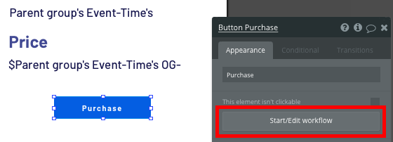 Trigger a new no-code workflow when a purchase button is clicked