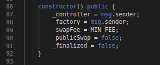 Balancer CodeBlock: BPool constructor