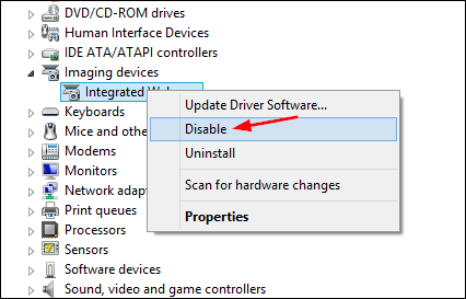 Enable or  Disable Webcam Using Device Manager