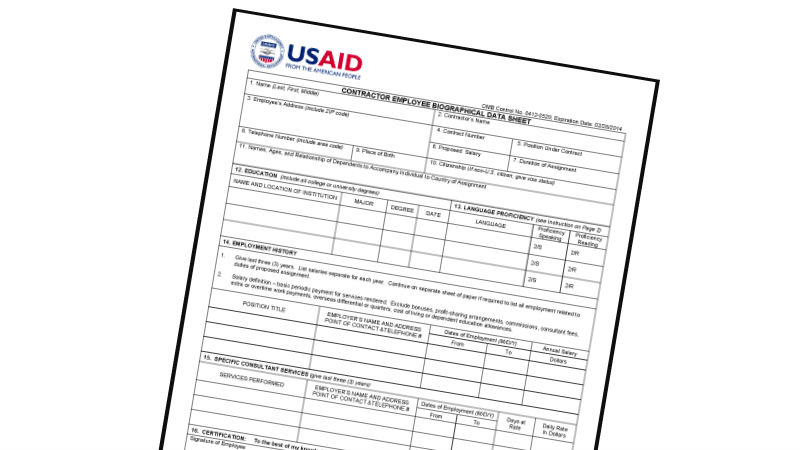 Opinion is the usaid 1420 biodata form contributing to for Usaid cv template
