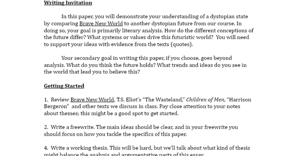dystopia essay Essays - largest database of quality sample essays and research papers on dystopian.