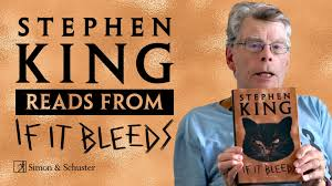 Book poster: Stephen King Reads from If It Bleeds; image of Stephen King holding book, which has an angry-looking black cat's face on the front