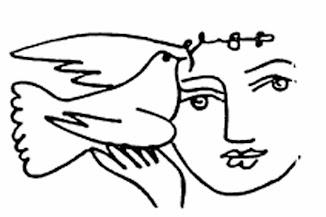 Friedenstaube mit Frauenkopf.