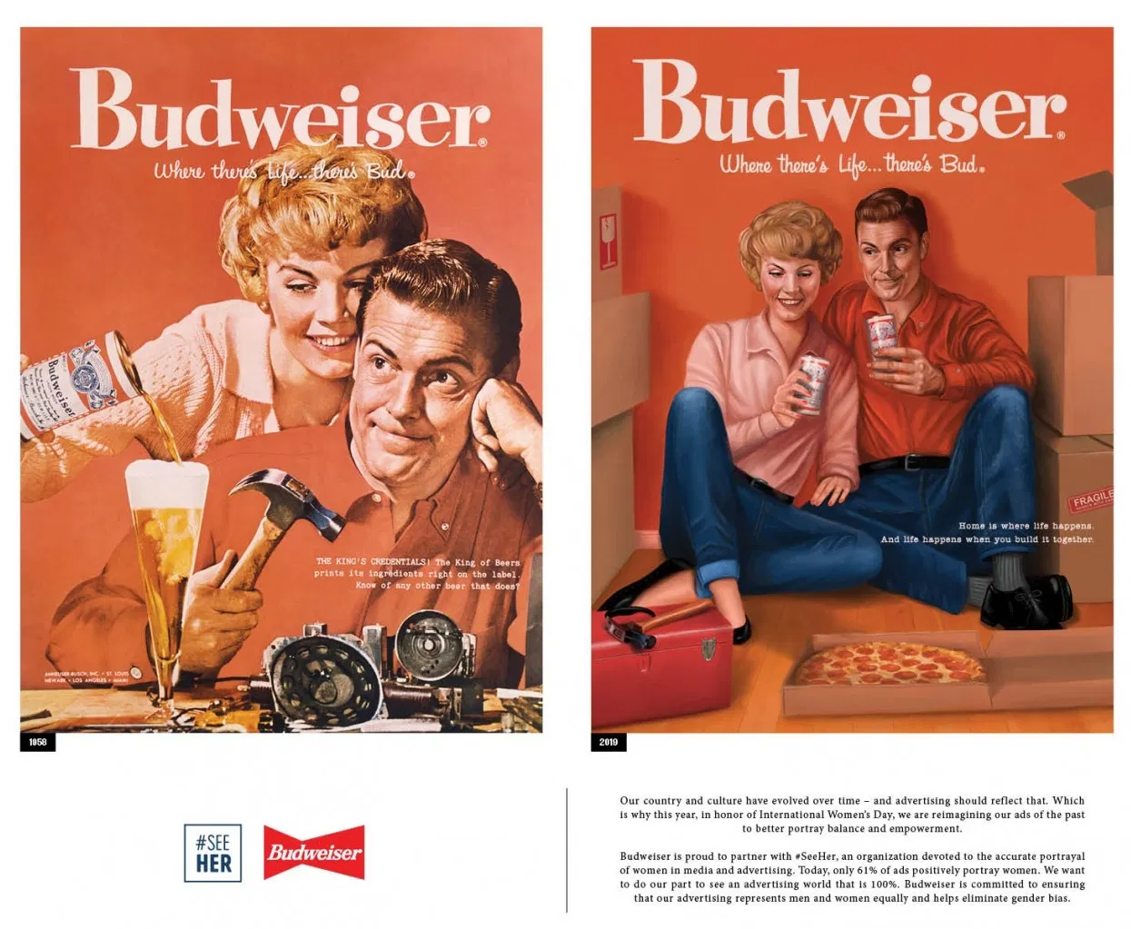 Two Budweiser ads side by side: the first with a woman pouring a man a beer as he works on fixing a device, and the second with both of them holding beers and surrounded by moving boxes.