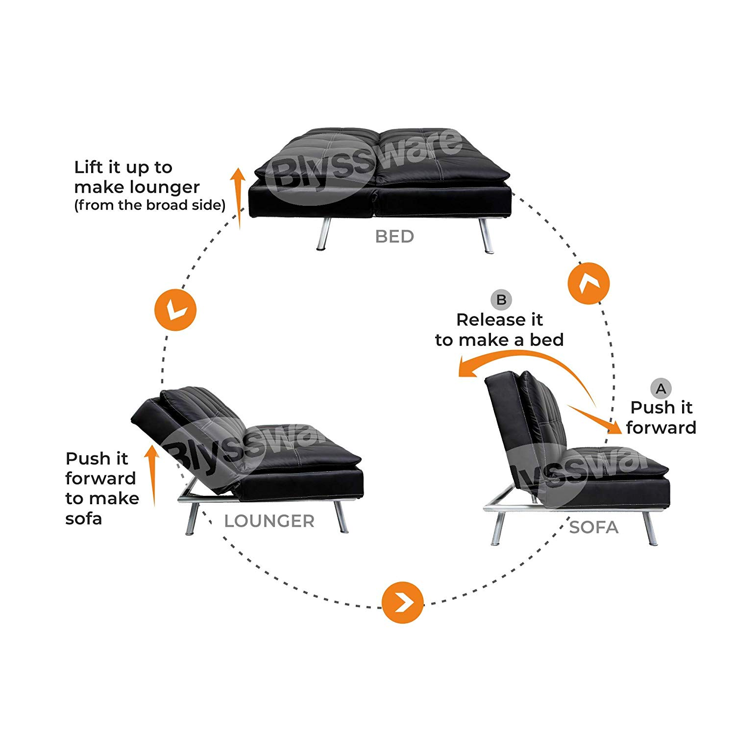 Uberlyfe Hennessey 3 Seater Sofa Cum Bed