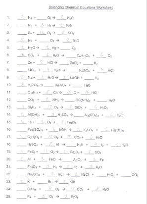 Homework 3 types of reactions and equations practice