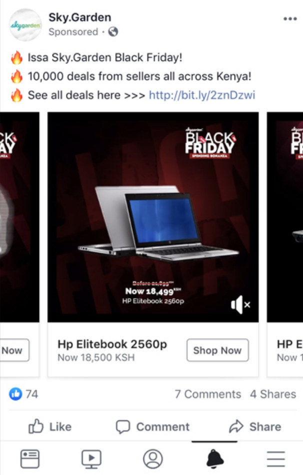 Facebook dynamic product ad from Sky.Garden