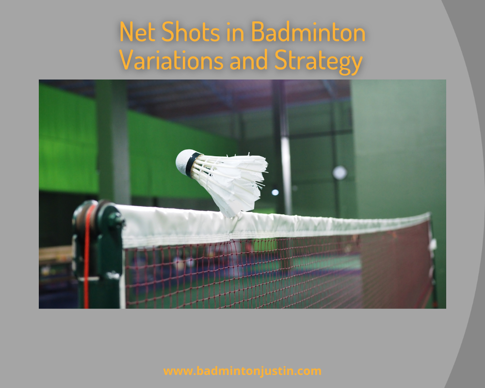 A full color image of a feathered shuttlecock sailing just over the top of a badminton net in an indoor badminton facility.