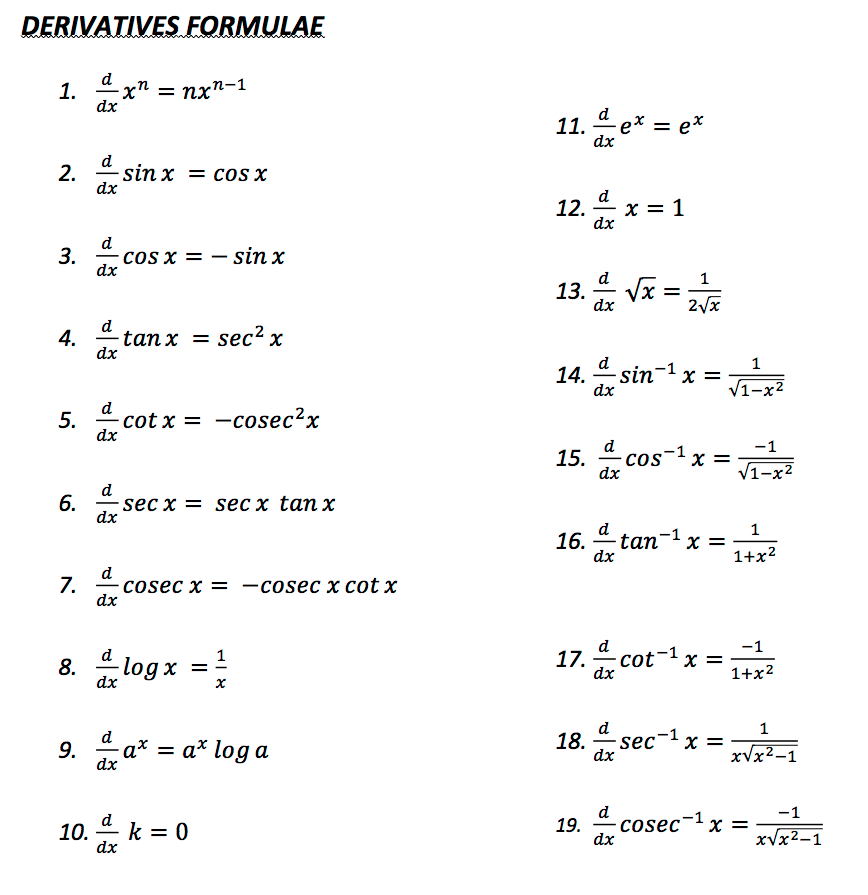 Maths Formula All Pdf File