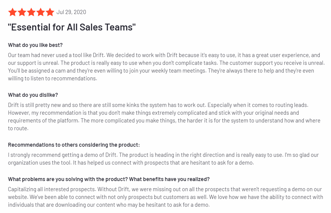 Drift - Best Sales Prospecting Tools 2020