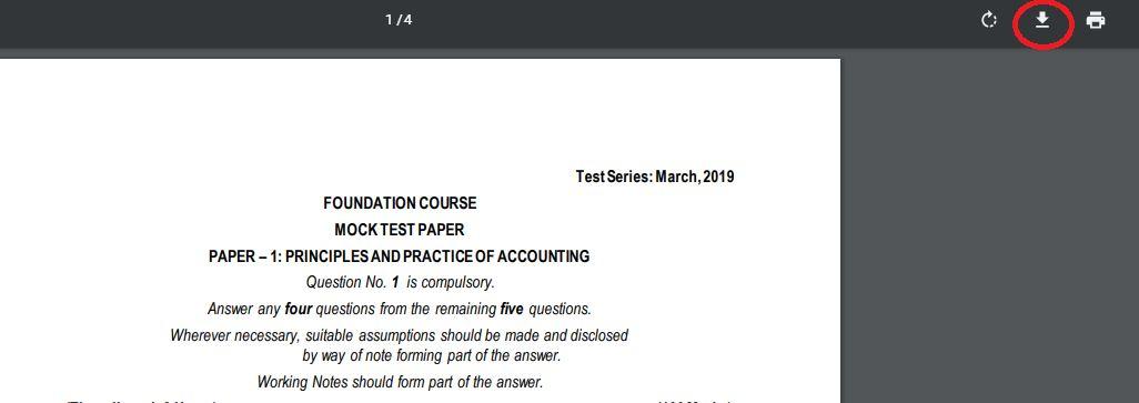 Download Pdf format of CA foundation course mock test paper