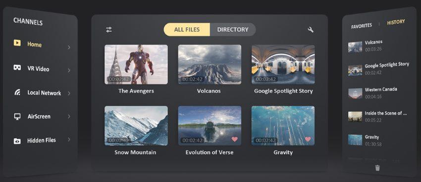 Skybox VR Player User Interface