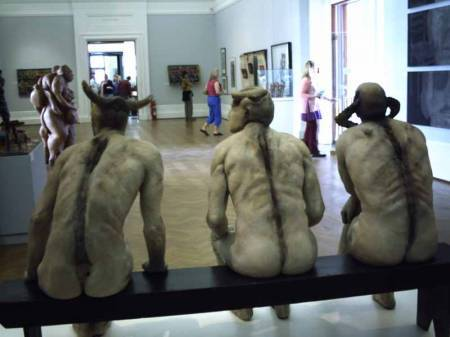 Jane Alexander - Butcher Boys - They sit together on the bench but there is no communication between them.