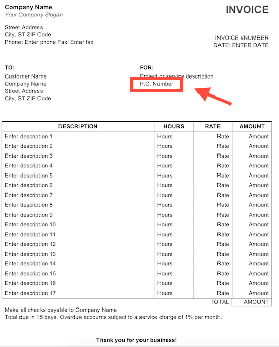 Purchase Order (PO) Number Example