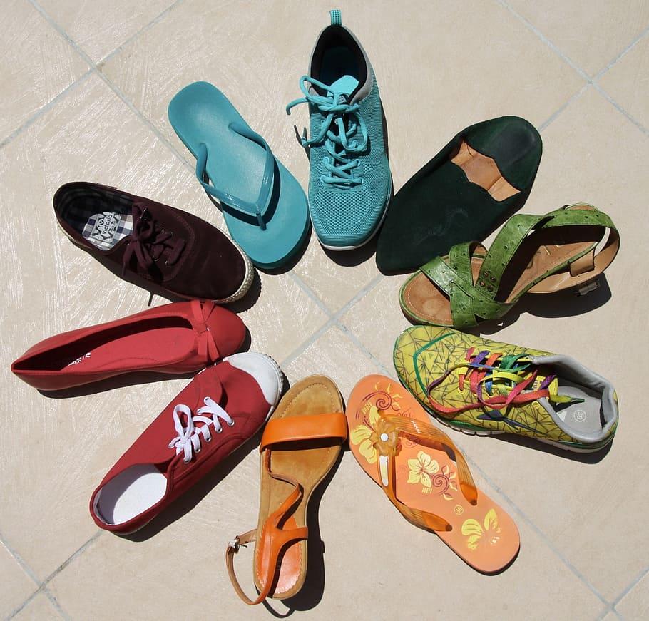 unpaired, shoes lot, daytime, shoes, lot, rainbow, lgbt, diversity ...