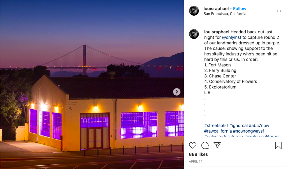 San Francisco's purple lighting