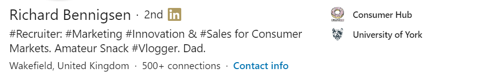 An example of a LinkedIn Headline that's optimized for sales.