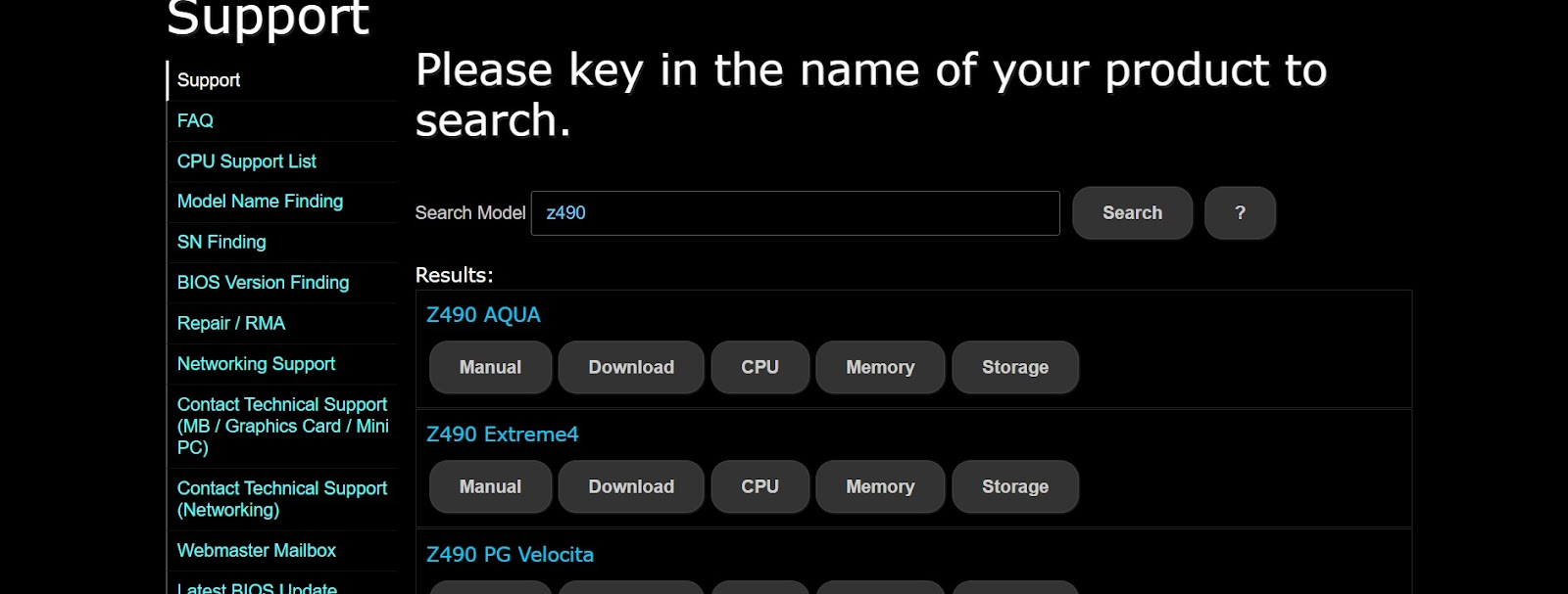 BIOS download webpage for ASRock motherboards