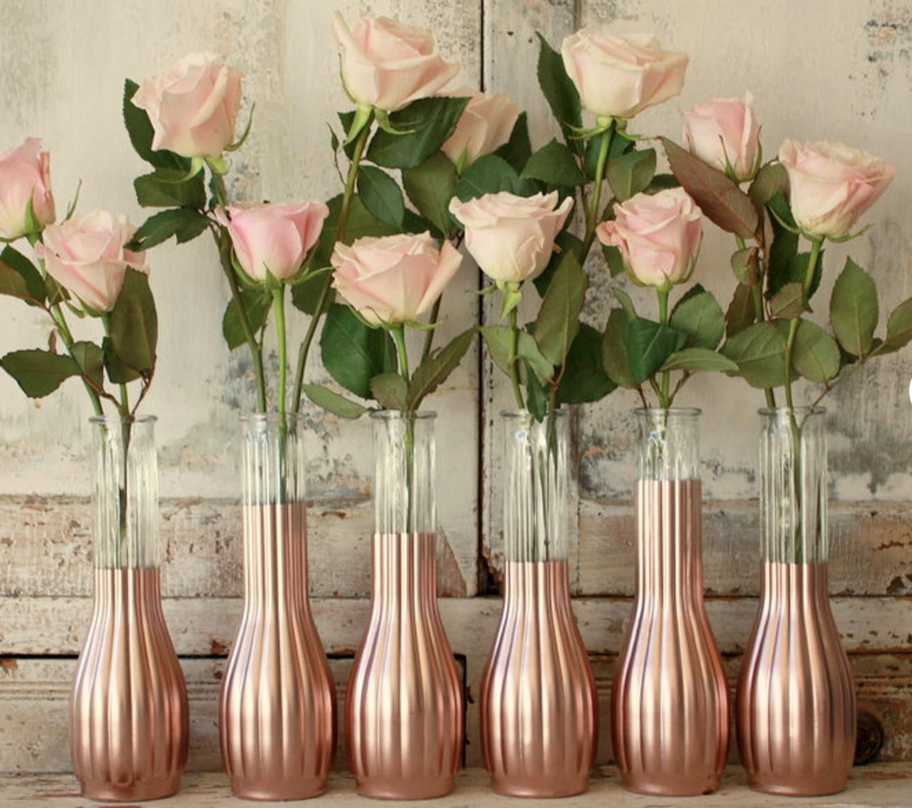 rose gold vases for wedding table arrangements