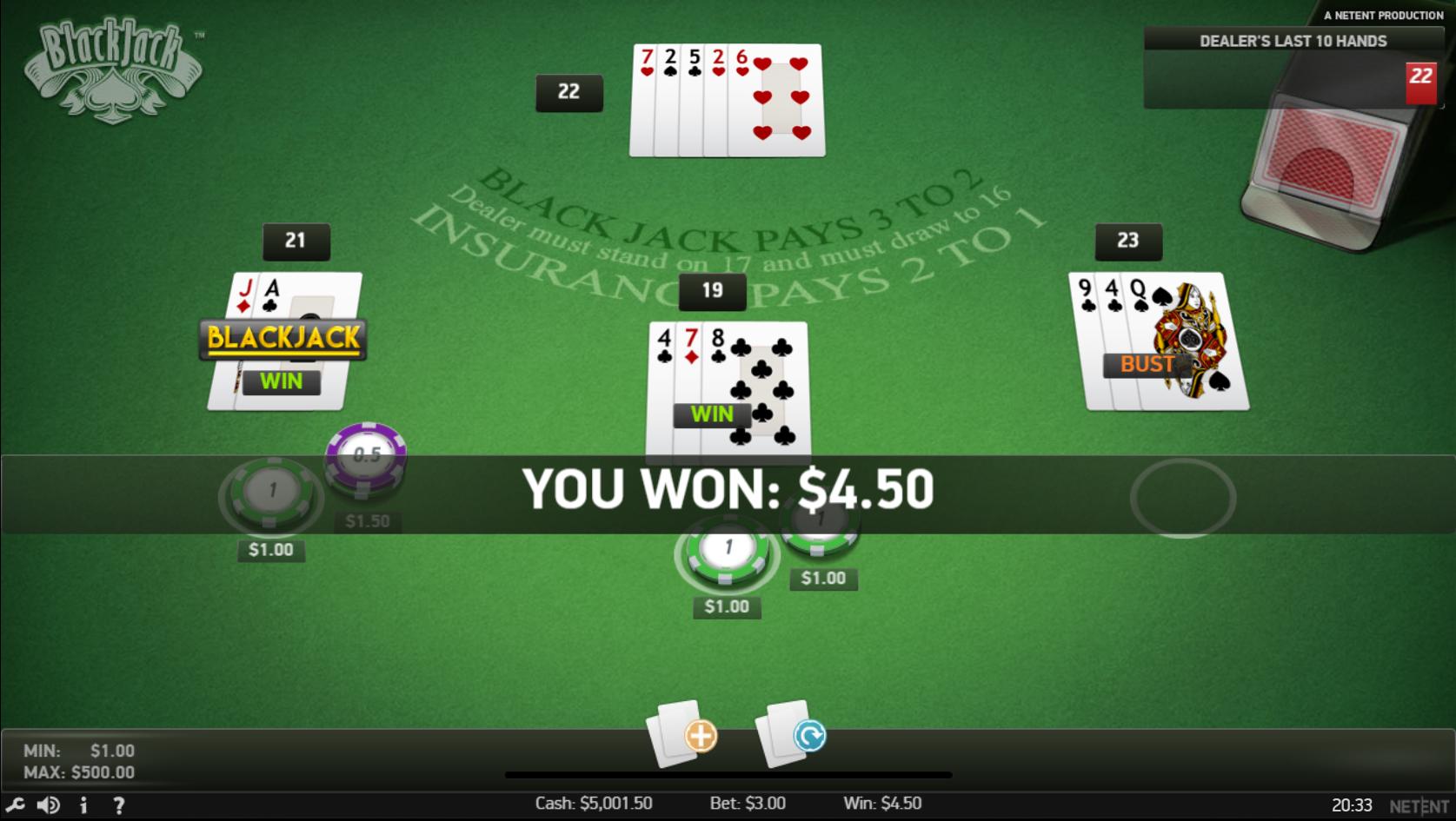 Pala NJ Online Blackjack