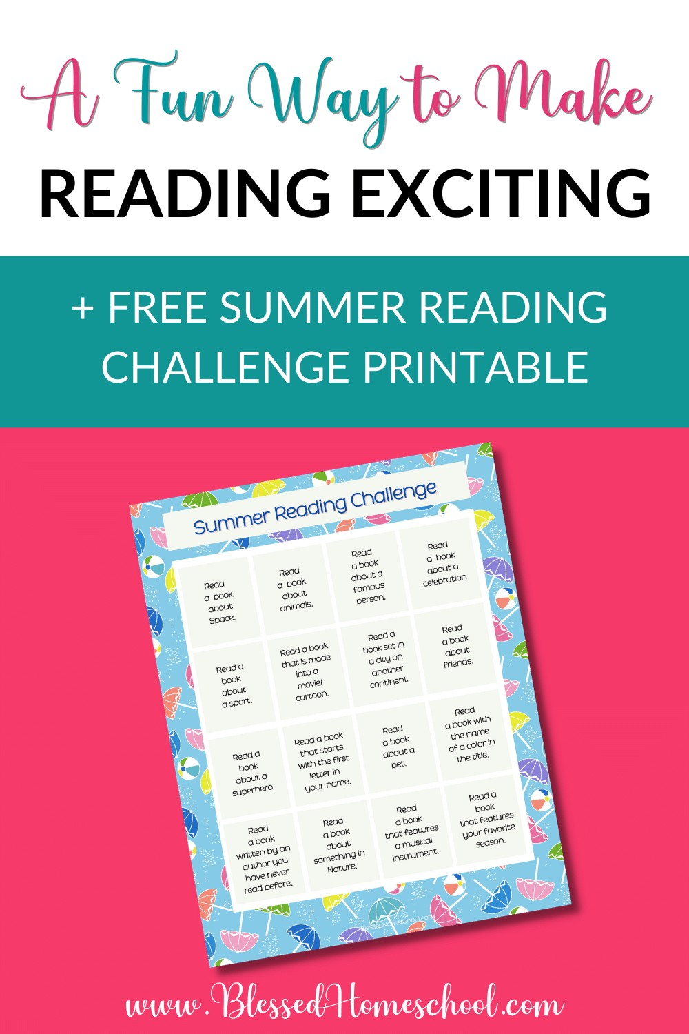 A fun way to make reading exciting Free summer reading challenge printable