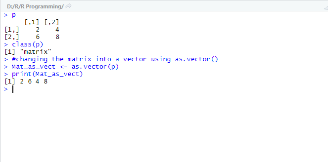 This image shows how to convert a non-vector object into a vector using as.vector() function in R.
