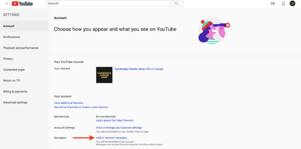 how to add or remove managers from a youtube account