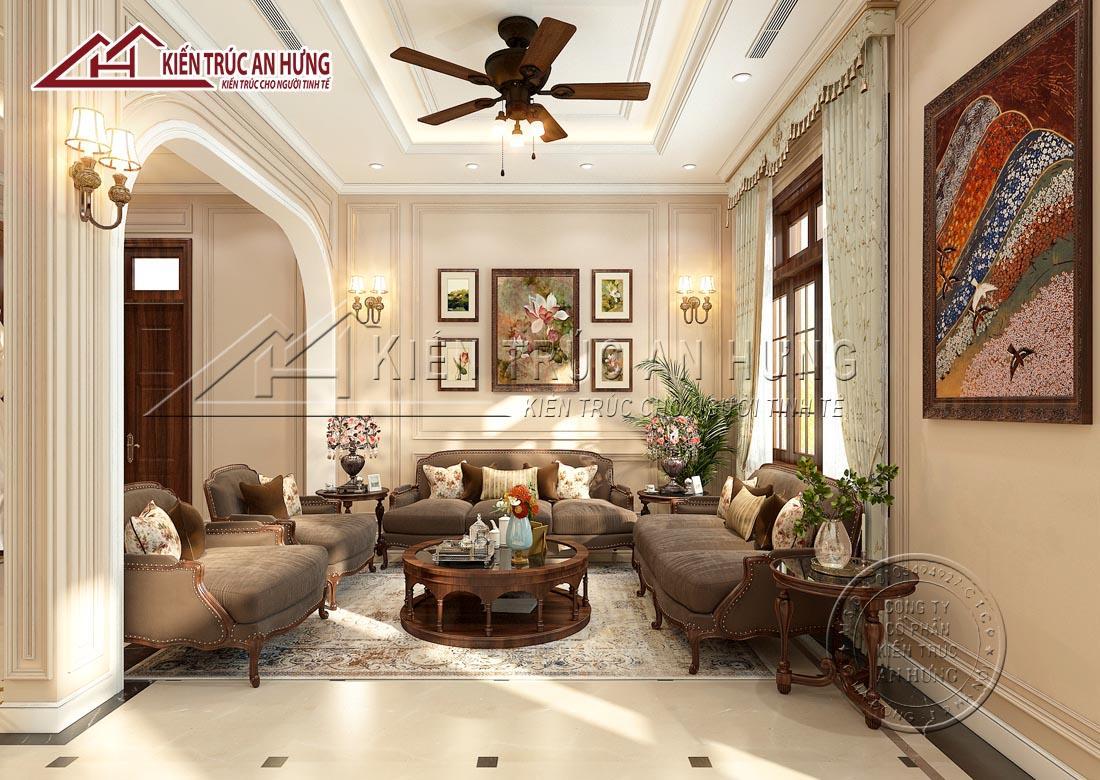 Phủ một gam màu kem ấm áp kết hợp với tranh treo tường, hệ thống đèn nhỏ xinh, phòng khách NT1780 hiện lên đầy tinh tế, ấm cúng