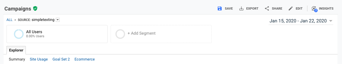Image of the campaigns tab in Google Analytics