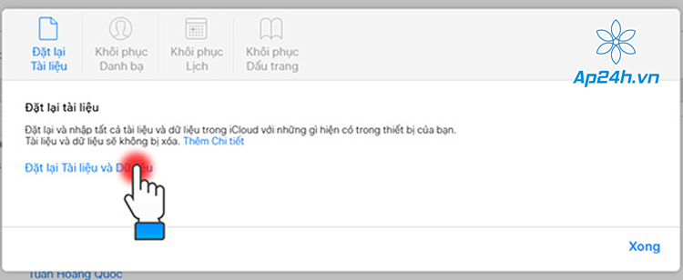 Khôi phục dữ liệu đã xóa trên iCloud