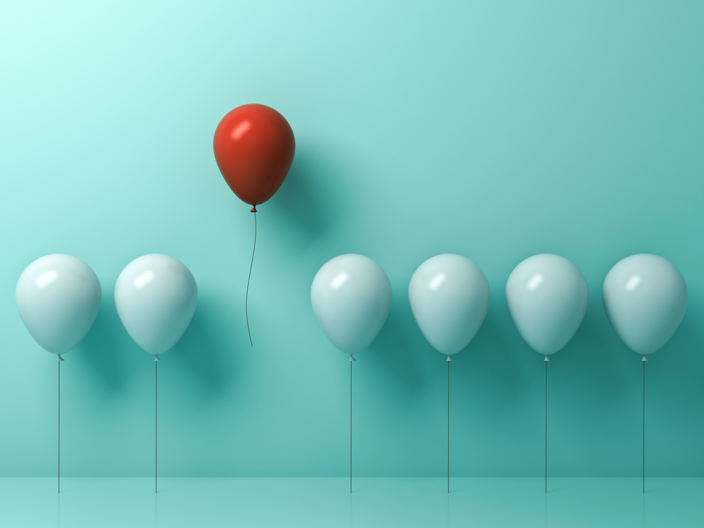 a balloon rising above others representing how makers are unique, and thus why you should Stock Makers In Your Store