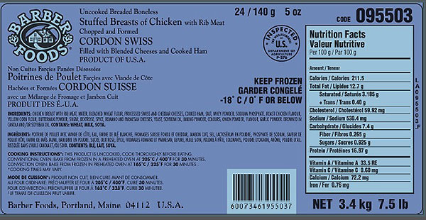Barber Foods brand Stuffed Breasts of Chicken - Cordon Swiss - 3.4 kilograms