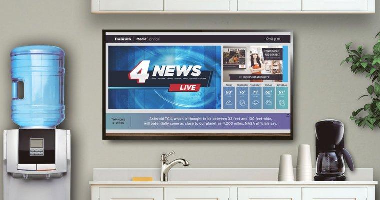 Digital signage display of live updates. Source: broadsign - Digital signage content - The Rev