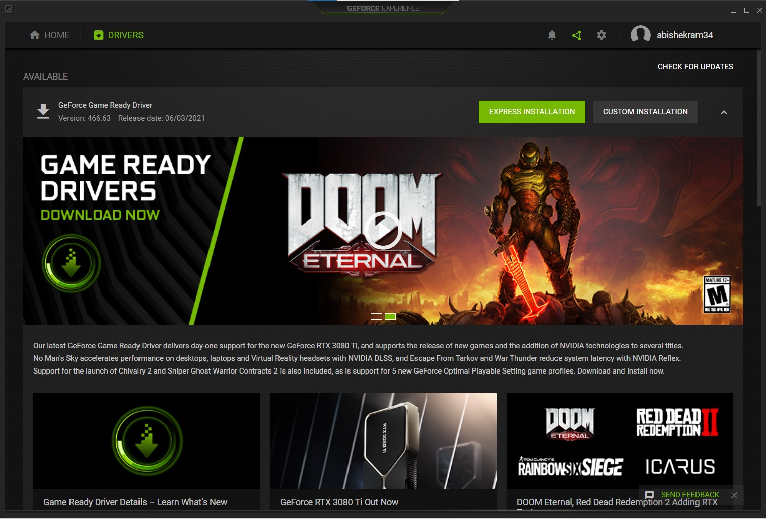 The Nvidia GeForce Experience home window