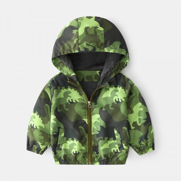 Toddler Boy Dinosaur Windbreaker Hooded Jacket