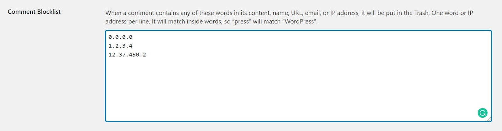Screenshot showing how to add IP addresses to the comment blocklist in WordPress