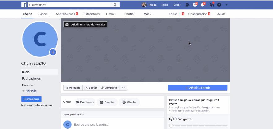 criando página do facebook