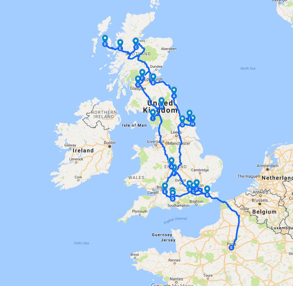 Road Map Of England And Scotland.England Scotland 2 Week Road Trip Itinerary