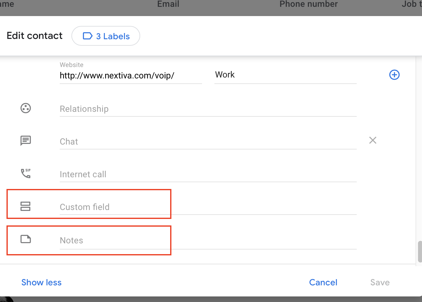 Gmail custom fields and notes help you search for contacts